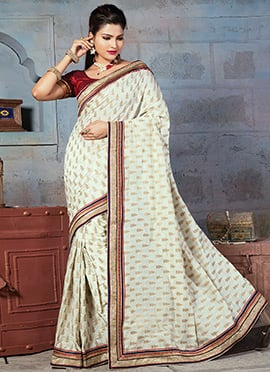 Art Silk Off White Jacquard Designed Saree