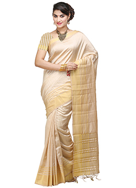 Art Tussar Silk Beige Saree