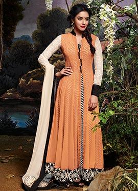 Asin Orange Anarkali Suit