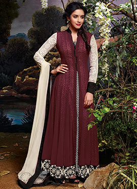 Asin Wine Printed Anarkali Suit