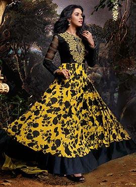 Asin Yellow N Black Anarkali Suit