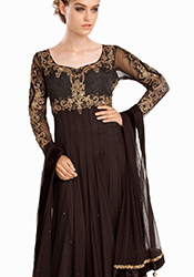 Attractive Brown Net Ankle Length Anarkali Suit