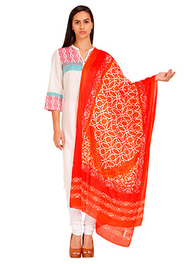 Aurelia Off White N Orange Cotton Dupatta