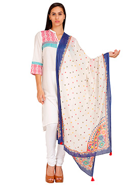 Aurelia Off White Poly Cotton Dupatta