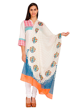 Aurelia Off White Printed Cotton Dupatta