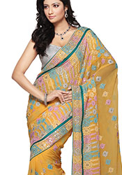 Awesome Mustard Embroidered Georgette Saree