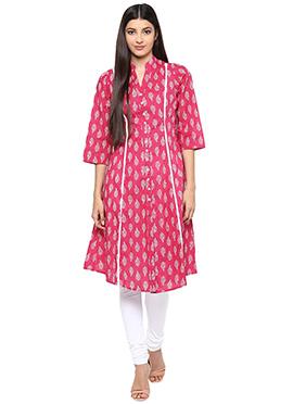 Ayaany Deep Pink N White Cotton Printed Anarkali Kurti
