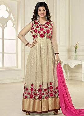 Ayesha Takia Beige Ankle Length Anarkali Suit