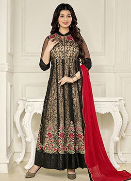 Ayesha Takia Beige N Black Ankle Length Anarkali