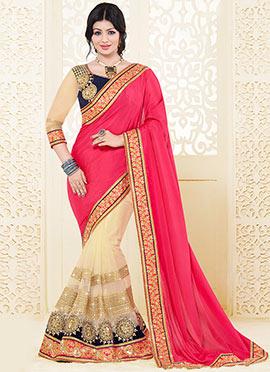 Ayesha Takia Beige N Pink Half N Half Saree