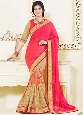 Ayesha Takia Beige N Pink Shade Half N Half Saree