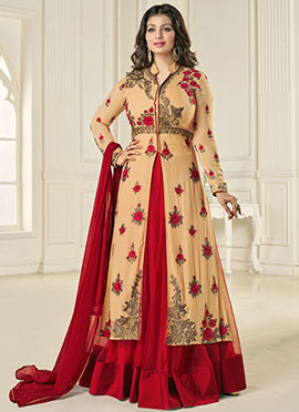 Ayesha Takia Beige N Red Long Choli Lehenga