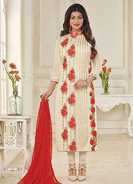 Ayesha Takia Cream Georgette Churidar Suit