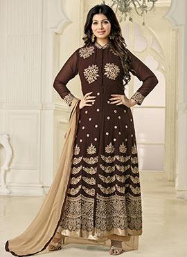 Ayesha Takia Dark Brown Palazzo Suit