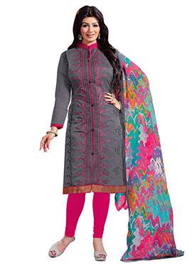 Ayesha Takia Grey Embroidered Churidar Suit