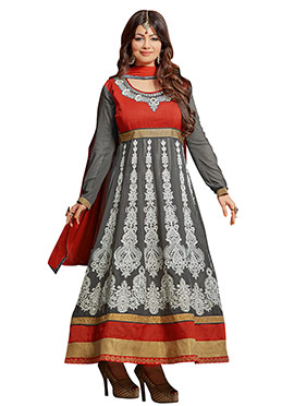 Ayesha Takia Grey N Rust Anarkali Suit