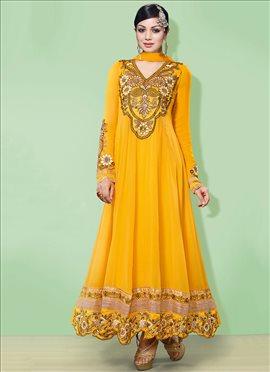 Ayesha Takia Mustard Ankle Length Anarkali Suit