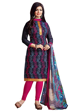 Ayesha Takia Navy Blue Embroidered Churidar Suit