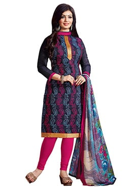 Ayesha Takia Navy Blue Embroidered Churidar Suit