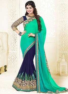 Ayesha Takia Navy Blue N Green Half N Half Saree