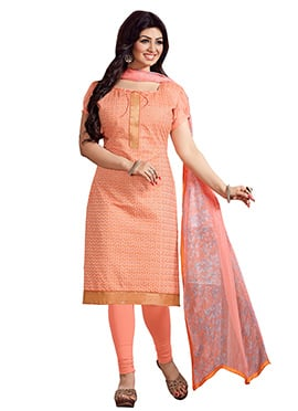 Ayesha Takia Peach Embroidered Churidar Suit
