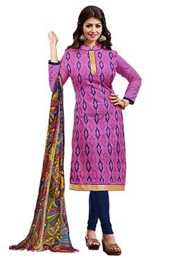 Ayesha Takia Purple Embroidered Churidar Suit