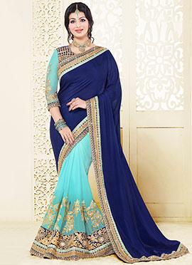 Ayesha Takia Sky Blue N Blue Half N Half Saree