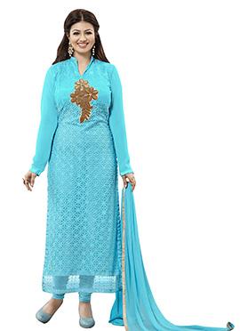 Ayesha Takia Turquoise Blue Straight Suit