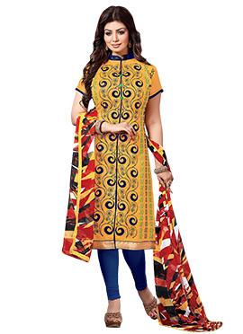 Ayesha Takia Yellow Embroidered Churidar Suit
