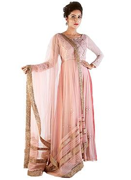 Bandana Narula Peachish Pink Anarkali Suit