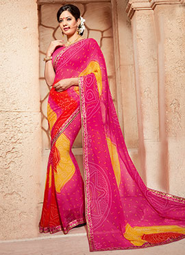Bandhini Pattern Georgette Multicolored Saree