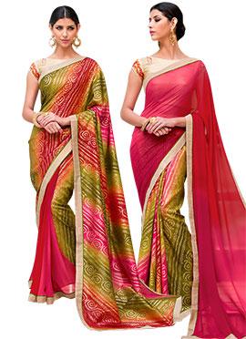 Bandhini Printed Reversible Saree