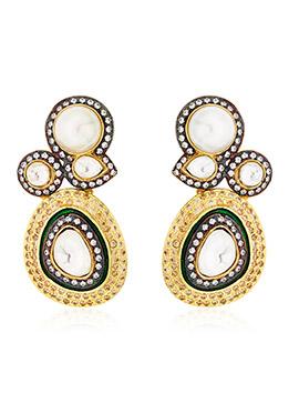 Baroque Golden N Black Drop Earrings
