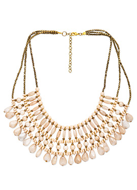 Beads Ornate Off White Multilayered Necklace