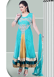 Beautiful Turquoise Net Layered Anarkali