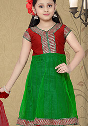 Beguiling green net anarkali suit