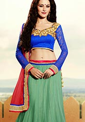 Beguiling Green Net Lehenga Choli