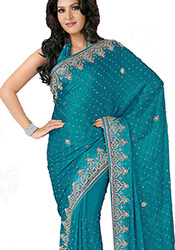 Beguiling Look Crystals Enhanced Chiffon Saree