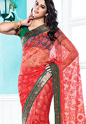 Beguiling Red Net Saree