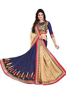Beige And Navy Blue Half N Half Saree