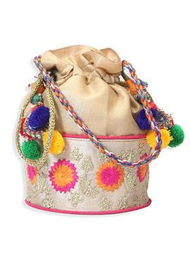 Beige Art Silk Embroidered Potli Bag