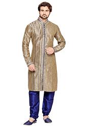 Brownish Beige Art Silk Kurta Pyjama