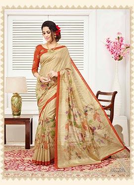 Beige Bhagalpuri Silk Saree
