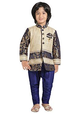 Beige Breeches Style Kids Sherwani