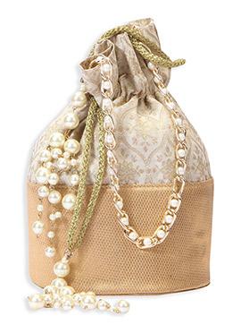 Beige Brocade Foliage Patterned Potli Bag