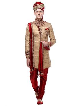 Beige Brocade Silk Indowestern Sherwani