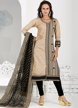 Beige Chanderi Churidar Suit
