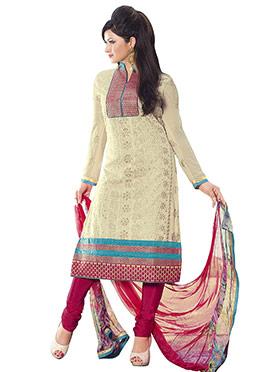 Beige Chanderi Cotton Churidar Suit