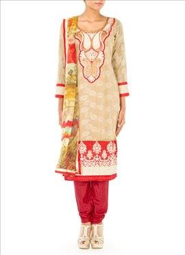 Beige Chanderi Cotton Straight Suit