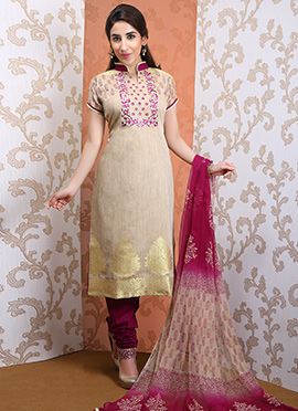 Beige Chanderi Silk Churidar Suit